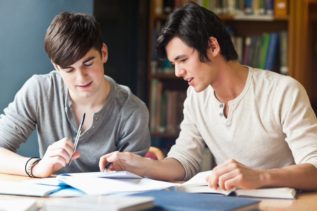 boy teaches or tutors the boy in the library